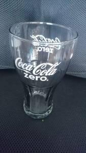 ■ コカ・コーラ ゼロ グラス Coca Cola zero ガラスコップ 透明黒 白地 文字 箱付き