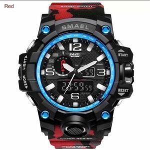 【1円スタート!】最落なし!SMAEL S-SHOCK 海外トップブランド メンズ高品質腕時計 50M防水 アナログ&デジタル 迷彩レッド♪