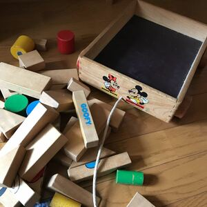 ヴィンテージ Disney ディズニー 木製積み木 つみき積木ウッドブロック子供幼児知育玩具おもちゃ ビンテージトイ ミッキーミニードナルド