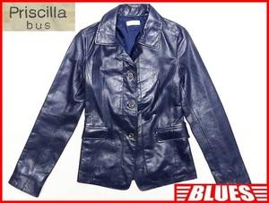 即決★Priscilla bus★レディースM レザーテーラードジャケット プリシラバス 2 青 ブルー 本革 スーツ 本皮 ビジネス 革ジャン 背広