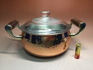 ◆送料込み即決1942◆レトロ美品 銅製槌目ガラス蓋付両手鍋 キッチン台所用品調理器具料理鍋厨房器具◆