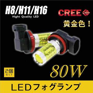 トヨタ◇最新CREE製 H8/H11/H16 80W LEDフォグランプ 黄色 102◇スターレット スペイド スープラ セリカ ファンカーゴ