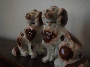 イギリス ヴィクトリア時代 犬 キャンバリアの置物 テリア フランス アンティーク 骨董 陶器 置物 オブジェ インテリア