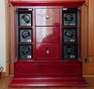 豪華 特大 ワインディングマシーン 時計自動巻き機 6本巻 収納 家具/棚 木製 アンティーク レトロ 動作品 中古