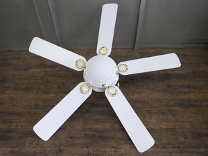 【未使用】 アンティーク調 シーリングファン 5枚羽 天井照明 ライト /SR2F