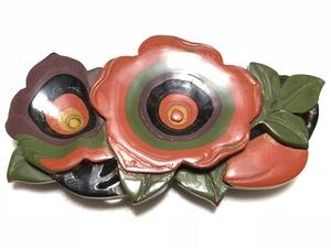 彫漆 堆朱 本鼈甲 椿 帯留め