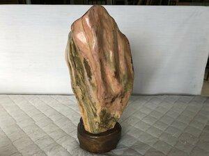 水石 風景石 盆石 盆景 盆栽 鑑賞石 自然石▼木台座付き