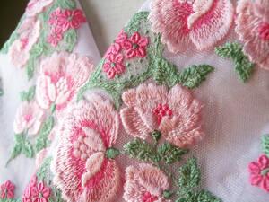 ラストの1枚!!【さくら】9 豪華で可愛い沢山のお花のチュールレース半襟(重ね襟)・手縫い