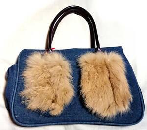 新品 未使用 フェイクファー付きポケット デニム トートバッグ 手提げかばん 鞄 もこもこ ふわふわ エコファー カジュアル
