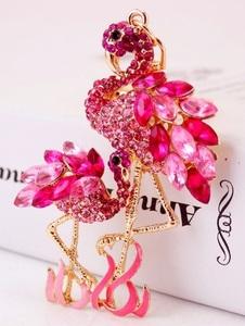 rhinestone key holder bird flamingo? key chain bag charm gold color pink