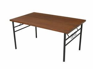 未使用☆天然木 ダイニングテーブル 4人掛け スチール脚 単品 食卓 幅135☆0547