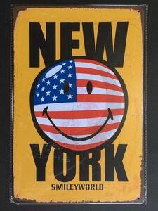 ブリキ看板 20×30cm スマイル Smile NEW YORK アメリカンガレージ アンティーク 雑貨 ★TINサイン★
