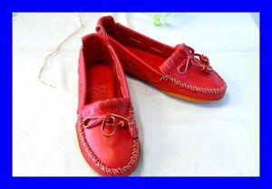 ○新品同様 イビザ IBIZA レザー フラットシューズ スリッポン 革靴 Sサイズ レッド X0082