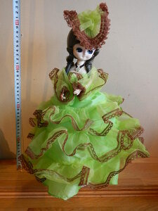 昭和レトロポーズ人形 ライトグリーン色ドレス フランス人形 中古 箱無し 全高45cm