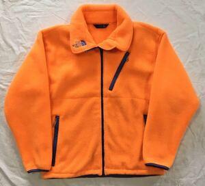 【90s】THE NORTH FACE ザノースフェイス フルジップ フリースジャケット M オレンジ ロゴ刺繍 二重仕様 日本製 アウトドア 美品 正規品