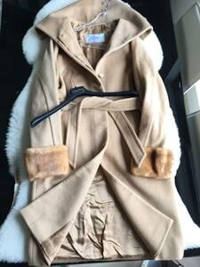 即決 MAXMARA マックスマーラ 最高峰 デンマーク産 ミンクファー毛皮付 キャメル100%コート☆36サイズ
