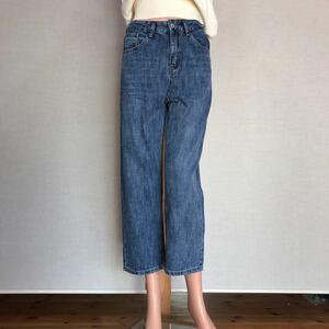 【新品】Mサイズ デニムパンツ 8分丈 ストレートデニム ストレートジーンズ