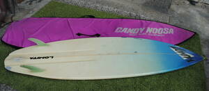 X550 * case attaching surfboard /LOMITA/ approximately 190cm/6.3 feet?/ material FRP/ surfing /SURF BOARD/CANDY NOOSA/ light blue / pink