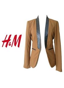 美品【H&M】フェイクレザー切り替え ジャケット(34)キャメル