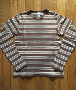 【貴重 初期】2002-03AW NOWHERE MAN ジョージ 期 NUMBER(N)INE ナンバーナイン ジャカード織 雪柄 ボーダー ロング Tシャツ ビンテージ