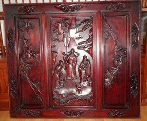 大きな彫刻絵、中国の紫檀材の彫り物。
