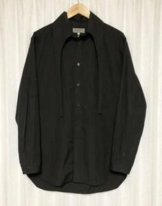 美品☆[Yohji Yamamoto Pour Homme] 17AW ボウタイ付き ワイドシルエットロングシャツ 3 ブラック ヨウジヤマモトプールオム HK-B20-018