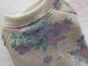 【3S・袖付き】花柄ベージュ 小型犬犬服ドッグウエアハンドメイド