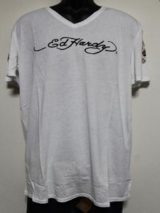 エドハーディー ED HARDY メンズ半袖Tシャツ ホワイト Lサイズ HB148 新品