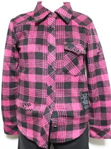 エドハーディー ED HARDY レディースネルチェックシャツ ピンク XSサイズ 新品