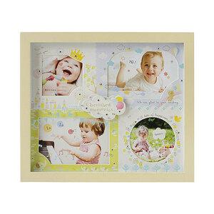 ガラスと紙マットの2重構造写真立て♪AMICA・アミカ ベビーフレーム ブルー フォト 出産祝 卓上 壁掛け