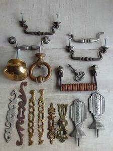 oフランスアンティーク 取っ手 16個セット 大量 ハンドル パーツ つまみ 家具 チェスト 真鍮 ブラス フック ウォール ドアプレート