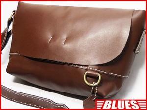 即決★N.B.★レザーショルダーバッグ メンズ 茶 ブラウン 本革 レディース 本皮 かばん 斜めかけ鞄 肩掛けカバン