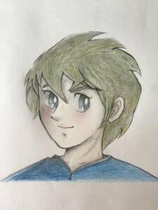 手描きイラスト~少年① ★鉛筆・色鉛筆・ボールペン ★普通紙(B5) ★新品