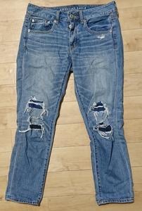 美品 アメリカンイーグル AMERICAN EAGLE OUTFITTERS デニム ジーンズ jeans ジーパン レディース ダメージ加工 レギュラー regular