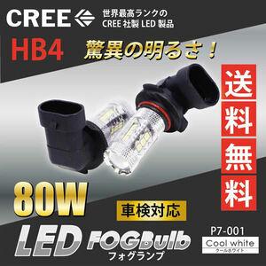 ホンダ◇CREE製 HB4 爆光 2200lm 純白 80W LEDフォグランプ P7-001◇オデッセイ クロスロード シビックタイプR