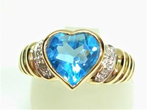 ◆K18ブルートパーズ、ダイヤリング【新品】◆創業54周年!◆超キュート♪税込み超特価!送料サービス♪♪