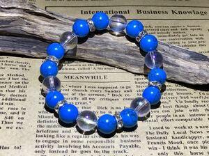 Free Shipping 美 麗 ◇ ◇ Natural stone bracelet ◇ Aqua aura × turquoise ◇ ◇ ◇ ◇ 17 cm ◇ Power stone ◇ 予 Presents for presents