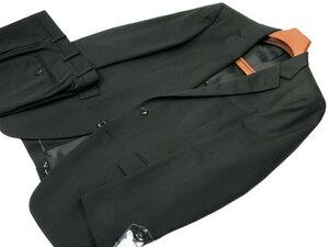 新品 春夏 AB4 身長165㎝ 胴囲84㎝ 2ボタン 黒無地 ノータック 形状安定スーツ シロセット加工 合物 オールシーズン 黒ブラック d18-1