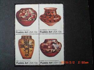 プエブロ族の陶器 4種完 未使用・田型 1977年 アメリカ合衆国・米国 VF/NH