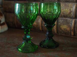 フランス アンティーク グリーン クリスタルグラス グラス2客セット(ヴァルサン ランベール バカラ アルクールやサンルイお好きな方に