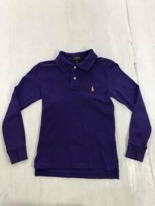 kids ポロラルフローレン 長袖ポロシャツ S(8) 紫色 アメリカ古着 POLO RALPH LAUREN