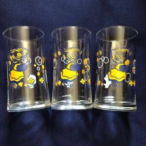 昭和レトロ 激レア希少非売品 明治スカット シャボン玉女の子と犬 グラス コップ タンブラー 3個セット