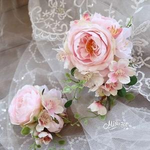 *misuzu*2個セット 親子コーデ 重ね付け 桜と薔薇の上質コサージュ 卒業式・入学式・結婚式・謝恩会 髪飾り・袴・帯飾り