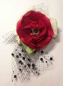 【即決】 コサージュ 椿 赤 レッド お花 卒入園 フラワー リボン フォーマル 卒業式 結婚式 つばき レース