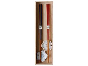 数量限定セール30%OFF 波佐見焼 箸置き&お箸セット 桐箱入 箸のハコ(サクラ) 41111 日本製