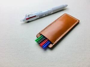 【手縫】キャメル色フリクションボールペン替え芯本革ケース