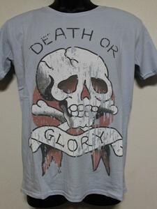 エドハーディー ED HARDY メンズ半袖Tシャツ ブルー Mサイズ UR019 新品 DEATH OR GLORY