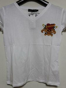 エドハーディー ED HARDY レディース半袖Tシャツ ホワイト Sサイズ MV052 新品