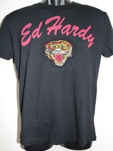 エドハーディー ED HARDY メンズ半袖Tシャツ ブラック Mサイズ タイガー刺繍 新品
