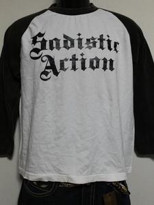 サディスティックアクション SADISTIC ACTION メンズ長袖ラグランTシャツ Mサイズ NO22 新品